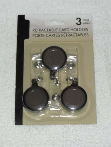 Set of 3 Retractable Card Badge Holders (Charcoal)