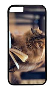 MOKSHOP Adorable Cat Book Hard Case Protective Shell Cell Phone Cover For Apple Iphone 6 Plus (5.5 Inch) - PC Black