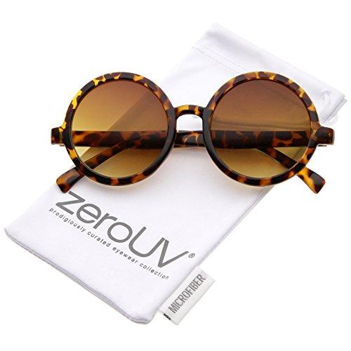 zeroUV - Classic Retro Horn Rimmed Neutral-Colored Lens Round Sunglasses 52mm (Tortoise / - Plastic Sunglasses Round