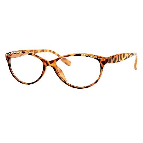 Womens Rhinestone Narrow Oval Plastic Cat Eye Reading Glasses Tortoise +2.0 (Brown Reading Rhinestone Glasses)