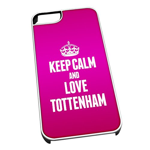 Bianco cover per iPhone 5/5S 0662 Pink Keep Calm and Love Tottenham