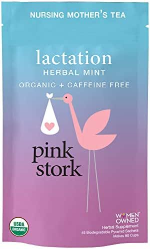Pink Stork Lactation: Herbal Mint Nursing Support Tea -Organic Loose Leaf Tea in Biodegradable Sachets -Natural Breastfeeding Support -Enhance Breastmilk Nutrition, Supply