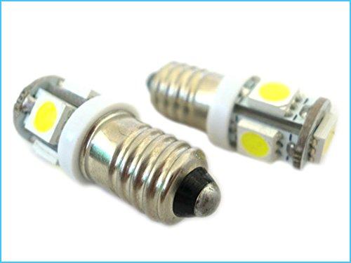 Bombilla LED E10 tornillo miniatura 5 SMD DC 6V hay polaridad luces blancas para las baterías de la linterna: Amazon.es: Iluminación