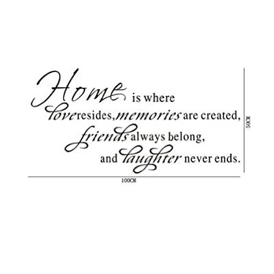 Wall Sticker Home Is Where Love Resides Memories Are Created Friends Always Belong and Laughter Is Forever Shared Love Quotes DIY Wall Saying Art Decal Decor Mural Vinyl Lettering Decor Room Home