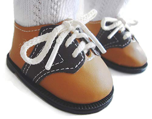 Doll Clothes Sew Beautiful Tan/Brown Saddle Shoes for 18