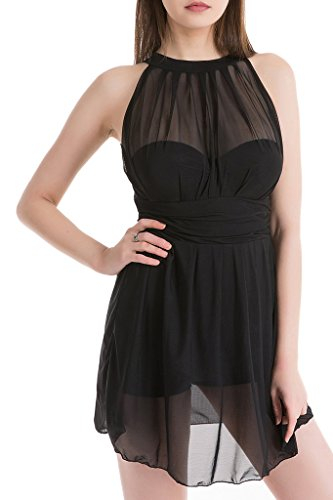Mesh Screen Print Cap (HENGJIA Women's Elegant Mesh Fabric One-Piece Swimsuit High Waist Skirt Folds Swimdress Black 5XL(US16-18))