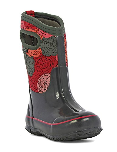 Bogs Classic Rosey Winter Snow Boot (Little Kid/Little Kid/Big Kid),  Dark Gray/Multi, 9 M US Toddler