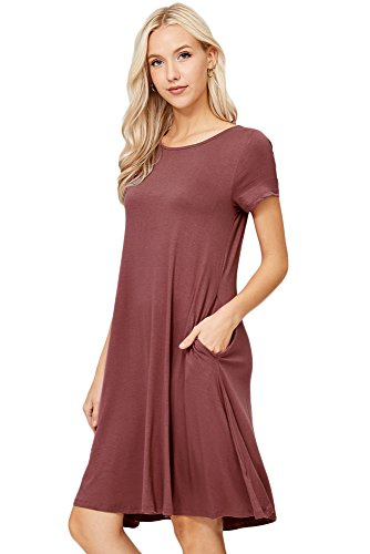 Plus Sizes Dresses (Annabelle Women's Solid Round Neck Short Sleeve A-line Mini Swing Dress with Side Pockets Plus Size Pink Ginger 3X-Large D5213X)