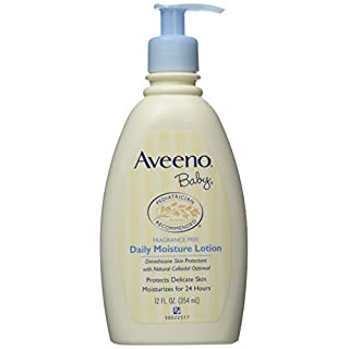 Aveeno Baby Daily Moisture Lotion, Fragrance Free, 12 Ounce (Pack of 2)
