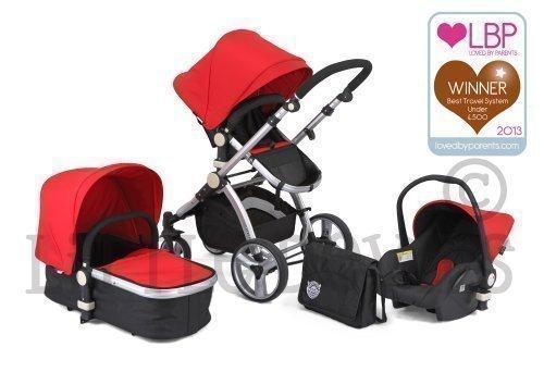 Little Devils - Schwarz & Rot Carrera Sport 3 In 1 Baby Reisesystem/Kinderwagen/Sportwagen/Buggy