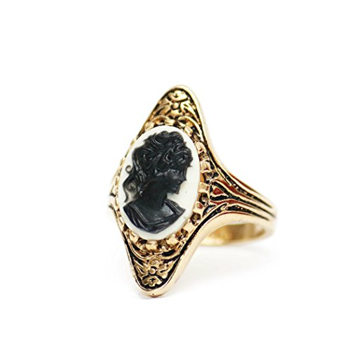 - Providence Vintage Jewelry Black on White Cameo Antiqued 18k Yellow Gold Electroplated Ring