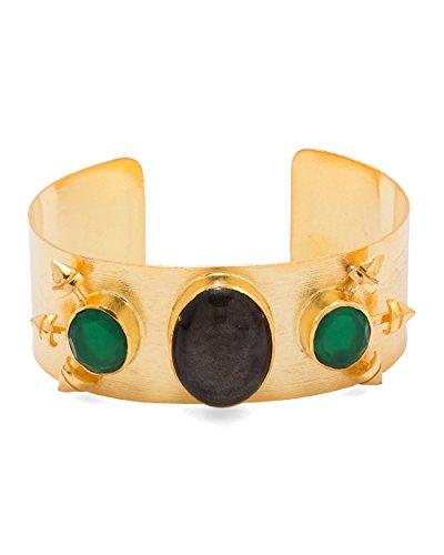 Voylla Women's Black Agate & Green Onyx Adorned Golden Cuff Bracelet by Voylla