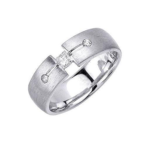 14k Gold Round Brilliant & Princess Cut 7mm Comfort Diamond Band 0.27ctw 1210 - Size - Brilliant Tension Ring Diamond Round