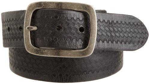 John Varvatos Embossed Belt (John Varvatos Star USA Men's Embossed Belt, Black Nickel,)