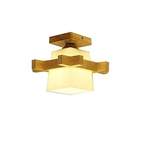 GQLB Lámpara de techo de madera sólida luz LED (230*230mm ...