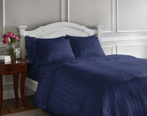 Whispersilk Luxury Stripe Sheet Set, Queen, Navy
