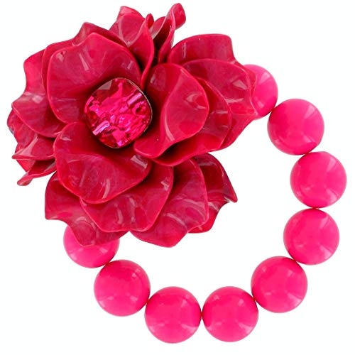 (Adjustable Length Fashion Big Chunky Fuschia Pink Flower Lucite Rhinestone Beaded Stretch Bracelet for)