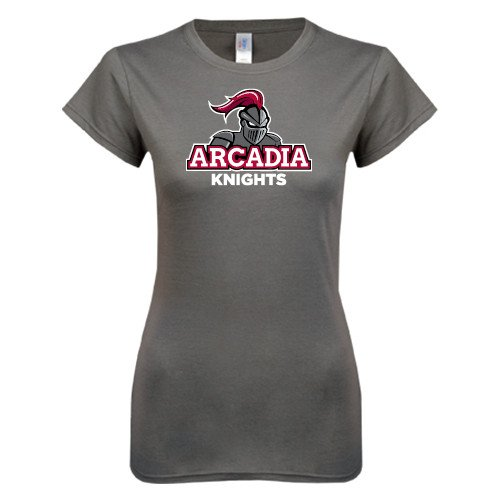 Arcadia Ladies Softstyle Junior Fitted Charcoal Tee 'Arcadia Knights Stacked'