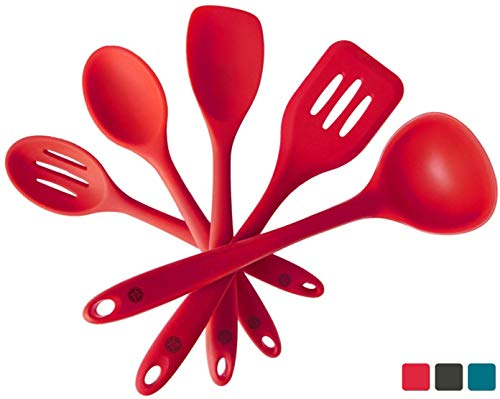 StarPack Premium Silicone Kitchen Utensil Set (5 Piece Set, 10.5) - High Heat Resistant to 600°F, Hygienic One Piece Design Spatulas, Serving and Mixing Spoons (Cherry Red)
