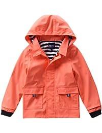 M2C Girls Hooded Waterproof Rain Jacket Cotton Lined Windbreaker 6/7 Living Coral
