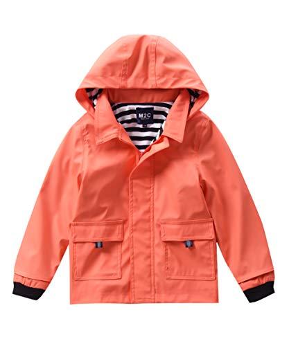 M2C Girls Hooded Waterproof Rain Jacket Cotton Lined Windbreaker 4T Living Coral