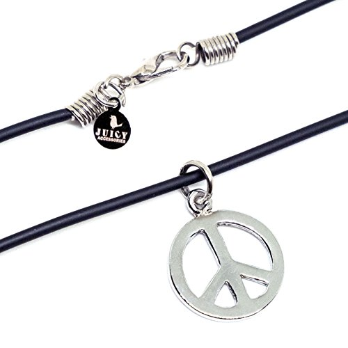 "JUICY ACCESSORIES BY JUICY SKIN CARE Black Hippie Necklace 16"" - Peace Sign Love Pendant - PVC 2mm ()"