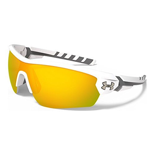 Under Armour Rival 8600090-110941 Shield Sunglasses, Satin White/Charcoal Gray, 42 - Best Fishing Sunglasses Saltwater