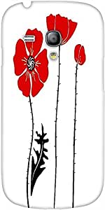 Snoogg Stylish Red And Black Poppies On White Background Designer Protective ...