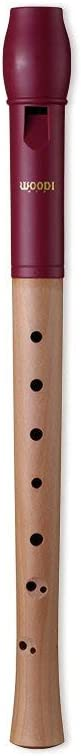 Woodi Soprano Recorder WWR-4338G ABS Blue Head With Maple Wood Natural Body Color With 2-Piece German Fingering