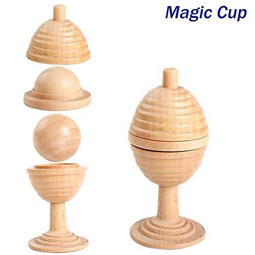 Joymee Magic Cup Ball Props Magic Show Magician Trick Wooden Accessories Amazing