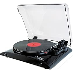 ION Audio Profile LP Record Player - Vinyl Turntable with USB digital conversion Audio - Piano Black