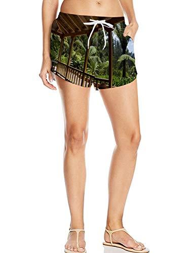 Women's Casual Shorts Pockets,Tropical Beach Side Lounge Garden - Terrace Tropical Garden