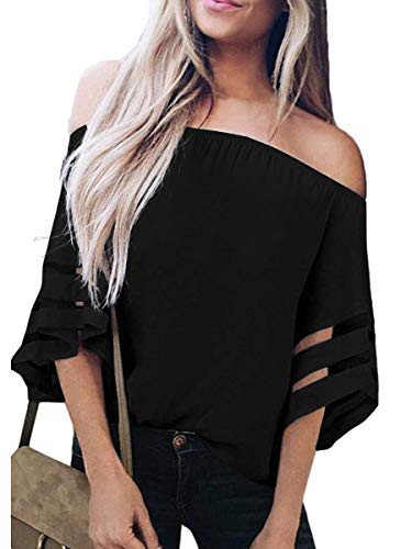 houlder 3/4 Bell Sleeve Chiffon Blouse Tops Casual Mesh Panel T Shirts Black ()