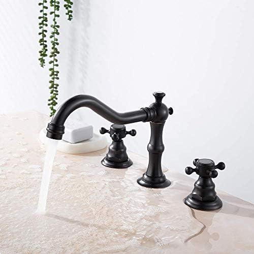 Yadianna 商業洗面所盆地タップソリッドブラス浴室流域ミキサータップホットコールドミキサータップ - タップ盆地タップバスルームには3つのホールをマウントデッキとバスルームのシンクの蛇口オイルラビングブロンズをタップ