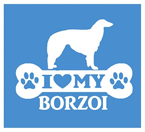 EZ-STIK Borzoi Bone L102 8 inch Sticker dog decal