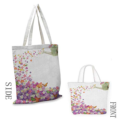 Ladies casual canvas bag Floral Butterflies Narcissus Flowers Violets and Pansies Pouring out from Old Watering Can Cosmetic bag 16.5
