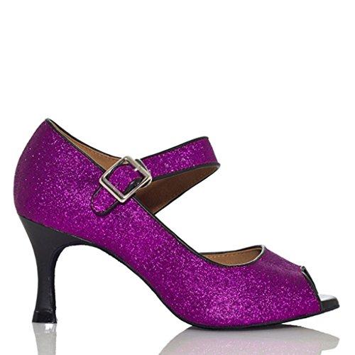 Crc Mujeres High Heel Fashion Ballroom Latin Tango Salsa Lentejuelas Mary Jane Open Toe Dance Sandalias Violeta