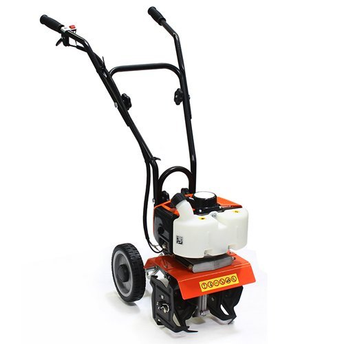 XtremepowerUS Commercial 55CC Tiller Cultivator 2-Cycle Gas Powered Garden Yard Grass Walk Behind Soil Prep Root Dirt with Handle