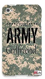 Proud Army Girlfriend United States USA Camo Apple ipod 5 Ipod 5g Quality Hard Case Snap On Skin for ipod Gen 5 and 5, 5G (WHITE CASE)