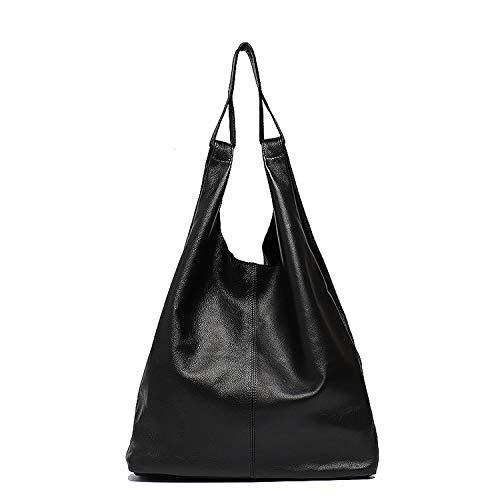 (Large Leather Shoulder Bag Women Casual Vintage Soft Cowhide Skin Handbag,BLACK)