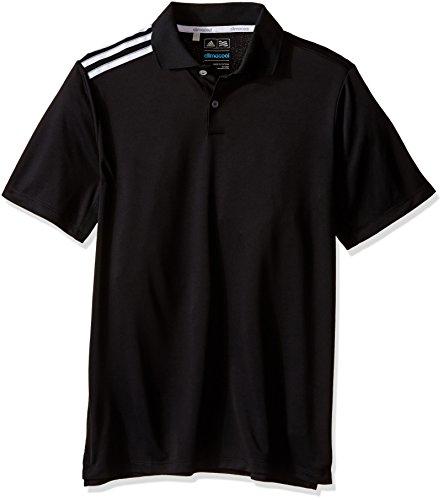adidas Golf Boys B Climacool 3-Stripes Polo Shirt, Black/White, Large (Adidas 3 Stripe Polo)
