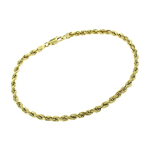 14k Yellow Gold 3mm Hollow Rope Diamond-Cut Link- Light-Weight - Twisted Bracelet Chain 8