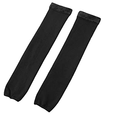 Romastory Womens Over Knee Leg Warmers Winter Thick Fleece Lined Elastic Socks Tights Leggings (One Size Fits S/M/L, Black): Clothing