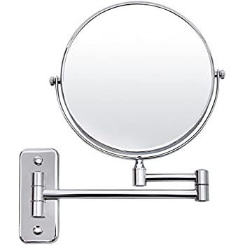 Exceptional SONGMICS 5x Magnifying Wall Mount Makeup Mirror 8 Inch Two Sided Swivel  Extendable Bathroom Mirror