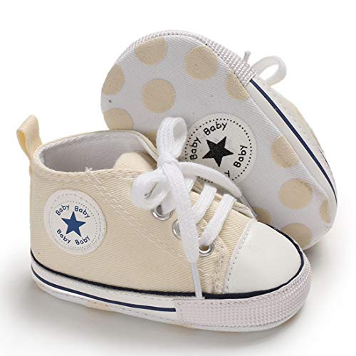 Tutoo Baby Boys Girls Shoes Canvas Toddler Sneaker Soft Anti Slip Sole Star High Top Ankle Infant First Walkers Crib Shoes for 3-18 Months Candy Colors Shoes Beige
