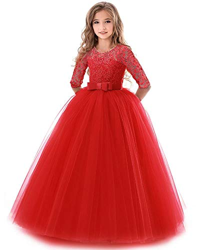 NNJXD Girls Pageant Embroidery Ball Gown Princess Wedding Dress Size (170) 13-14 Years Red -