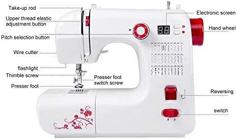 Máquina de coser electrónica, brazo libre con 30 puntadas, brazo libre, costura automática con pedal de pie, mini máquina de coser multifunción 220 V 24 W DIY con ...
