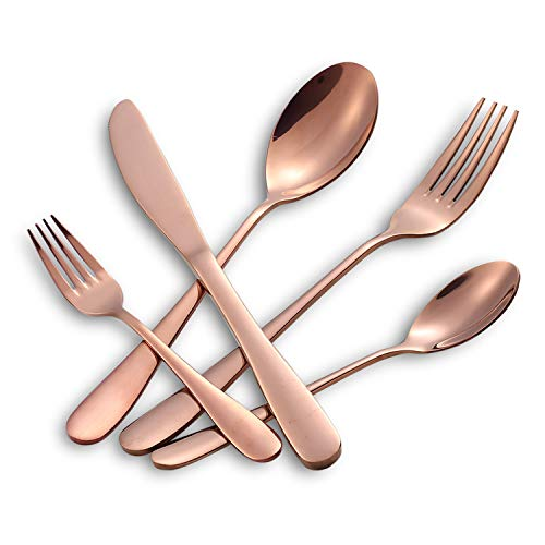 (Hoften 20 Piece Rose Gold Silverware Set, Colorfully Plated Stainless Steel Utensils Include Forks, Spoon, Knife Flatware, Cutlery Set Service for 4, Dishwasher Safe (HD822-RG))