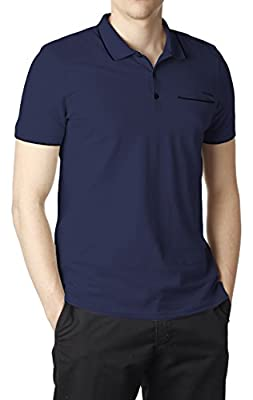 Calvin Klein Men's Slim Fit 3 Button Cotton Polo Shirt Short Sleeve
