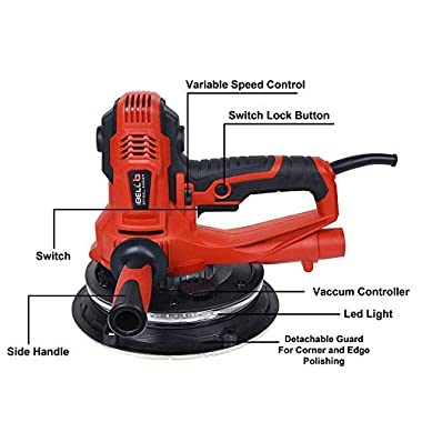 IBELL Dry Wall Sander DS80-90, 180MM, 800W, 1200-2300rpm with Vacuum and LED Light 9